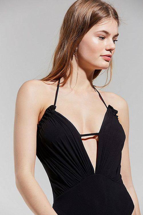 Blue Life Exotica Ruffle One Piece Swim Suit Black