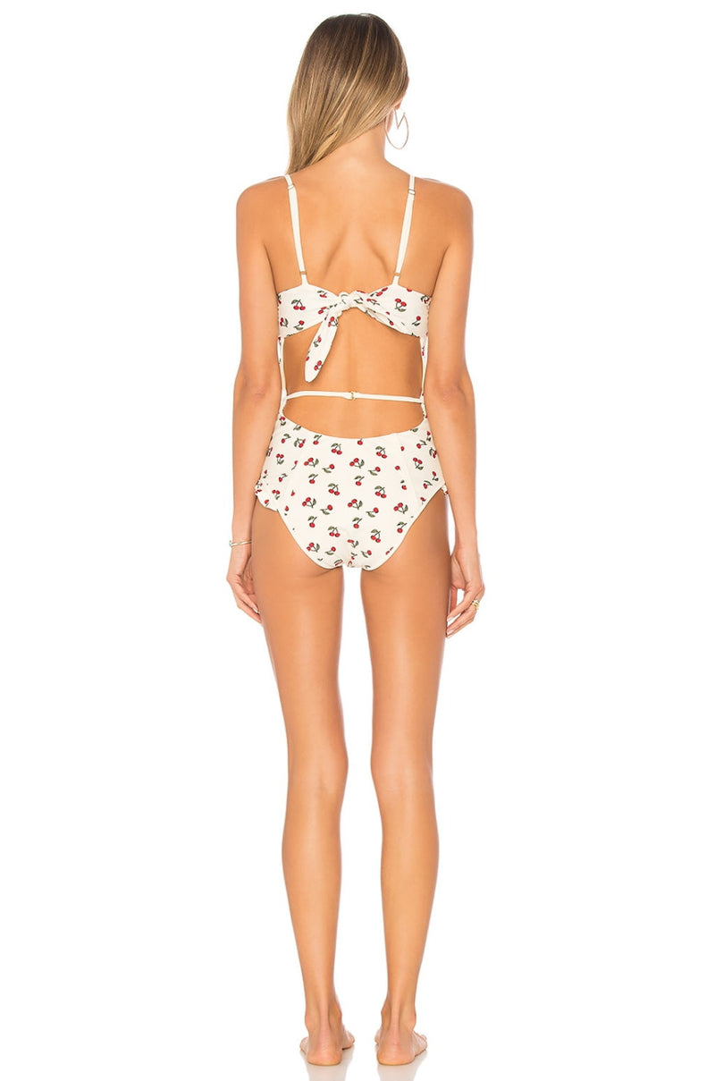 For Love and Lemons Mon Cheri One Piece Swim Suit Cherry
