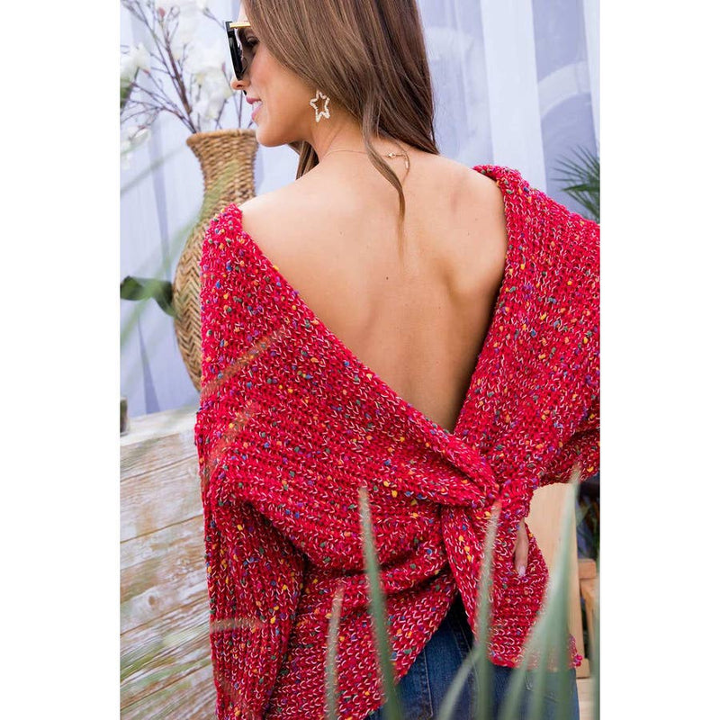 Main Strip Red Multi Polka Dot Twist Front or Back Sweater