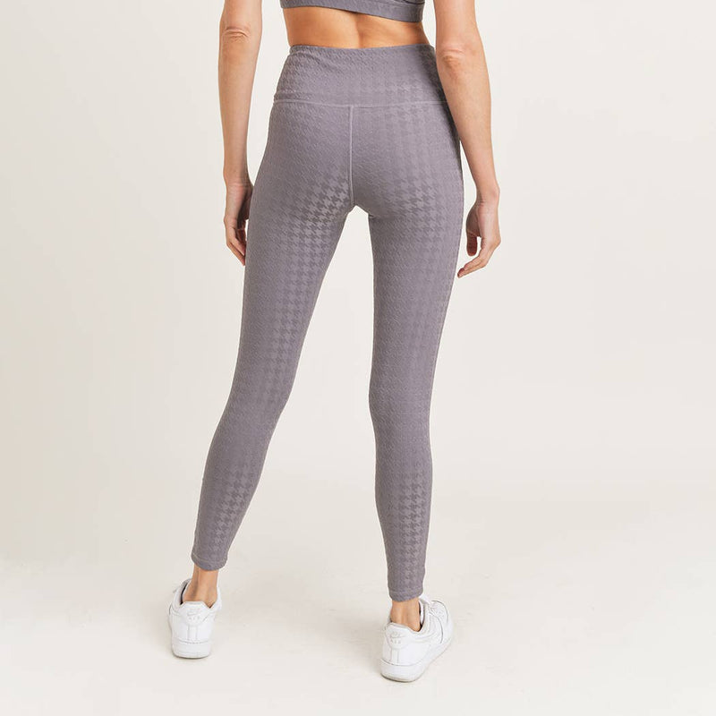 Mono B Textured Houndstooth High Waist Leggings Plum Gray