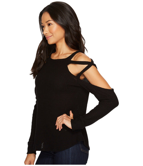 LNA Strappy Shoulder Waffle Sweater