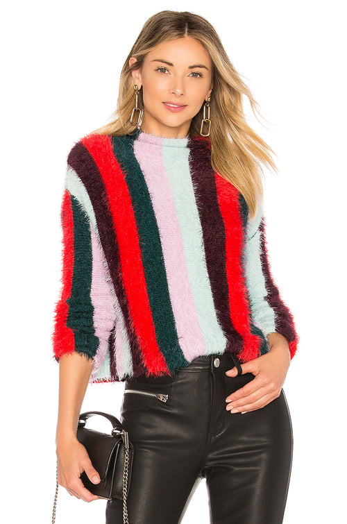 Blank NYC Striped Mock Neck Sweater Mad Hatter