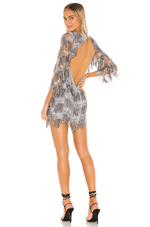 For Love and Lemons Etoile Sequin Fringe Mini Dress