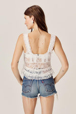 For Love and Lemons Jelena Button Front Crop Top