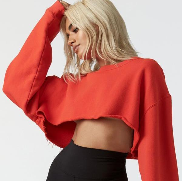 Joah Brown Cut Off Cropped Sweatshirt Hot Sauce