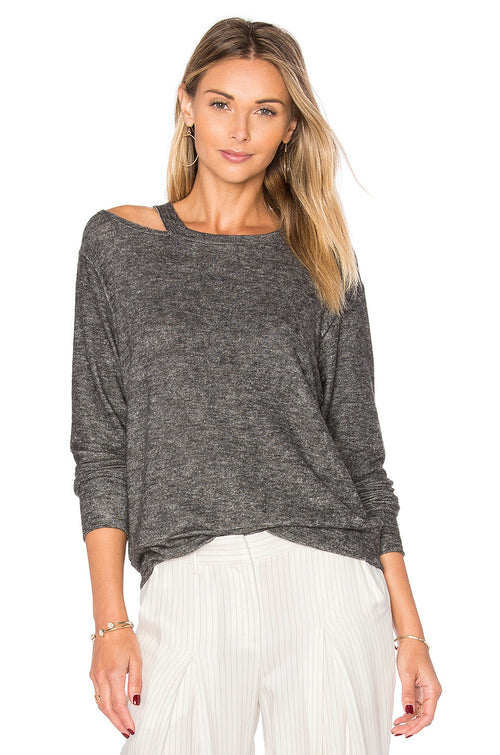 LNA Bolero Cut Out Sweater Grey