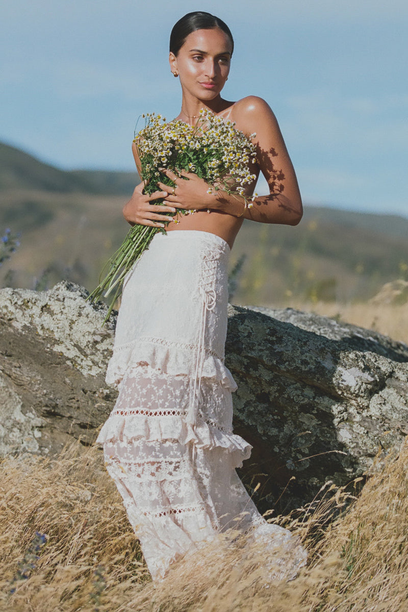 Spell & The Gypsy Cinder Le Gauze Lace Maxi Skirt Off White