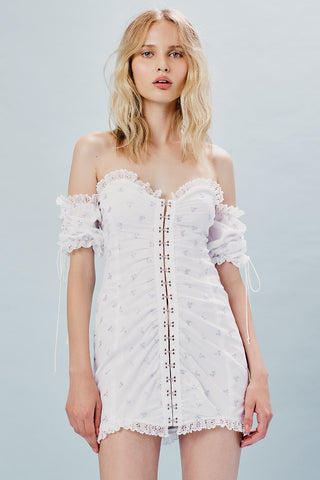 For Love and Lemons Cookies N Cream Eyelet Tie Up Skirt
