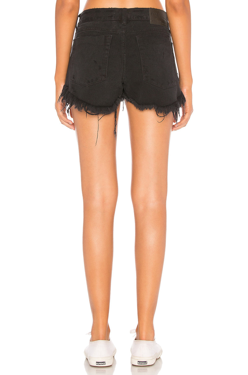 One Teaspoon Black Oak Low Waist Bonitas Jean Shorts