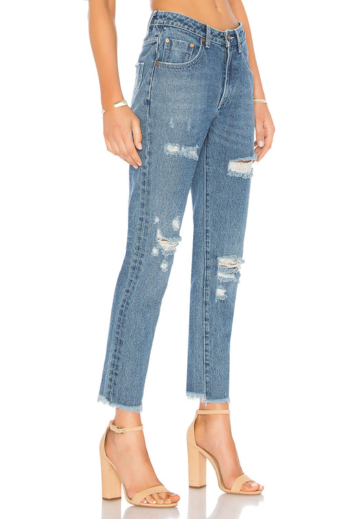 One Teaspoon Fresh Blue High Waist Awesome Baggies Distressed Jeans Denim