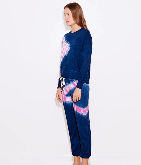 Sundry Navy Candy Tie Dye Hi Low Crew Sweater