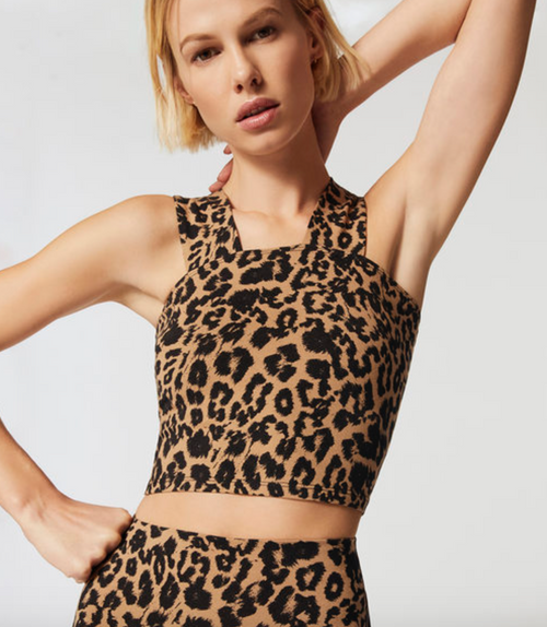 LNA Leopard Valley Crop Tank Top