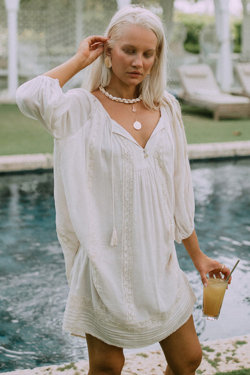 Spell & The Gypsy Cinder Tunic Dress Off White