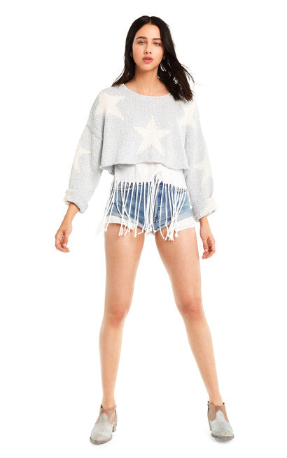 Wildfox Star-Crossed Star Crop Sweater