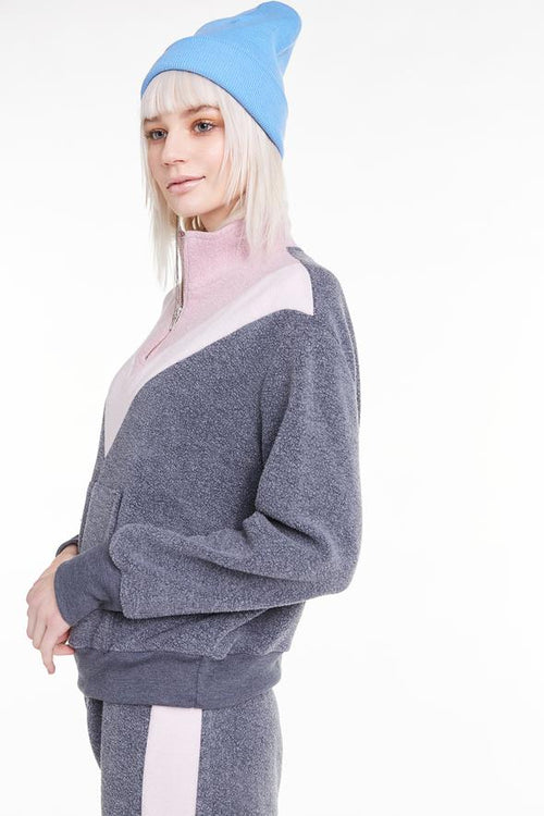 Wildfox Blocked Soto Warm-Up Sweater Rose