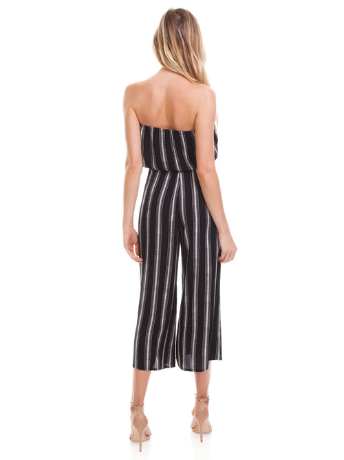Blue Life Bell Jumpsuit Black Boho Stripe