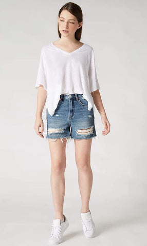 One Teaspoon Sea Drift Bleached Bonitas High Waist Denim Shorts