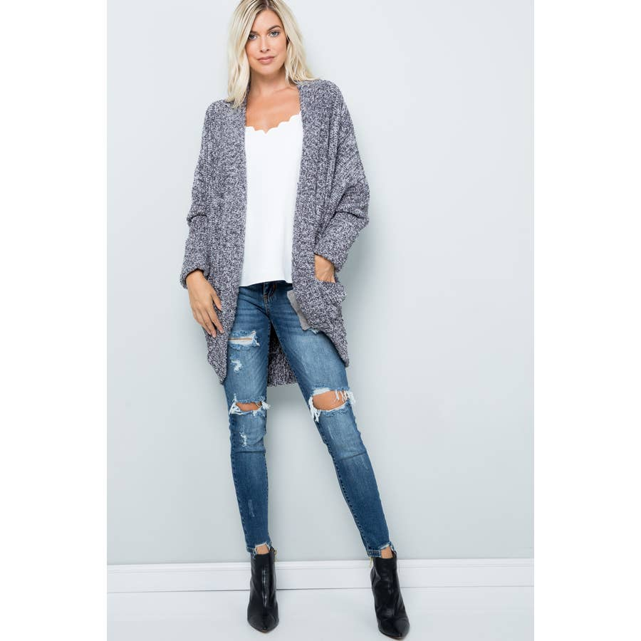 Sweet Lovely by Jen Cozy Slouchy Charcoal Cardigan