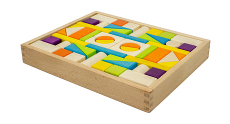 Wooden Building Blocks with Tray (54 pieces)
