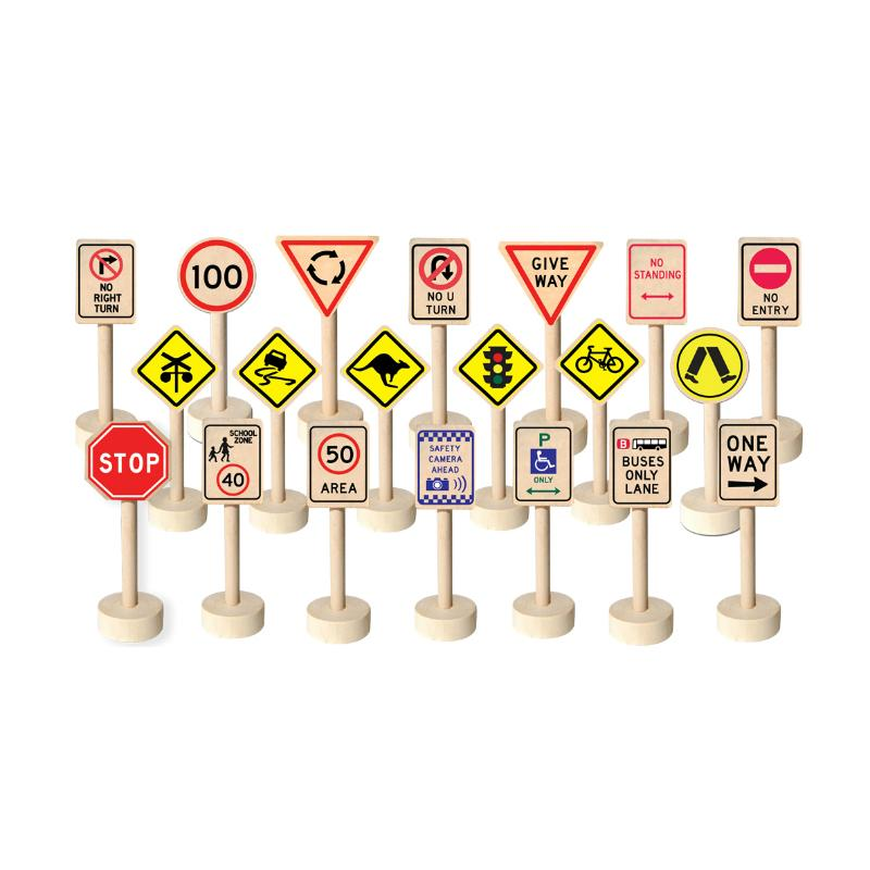 Fun Factory - Wooden Traffic Signs (20 pieces) - Wooden World