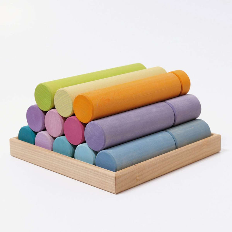 Grimm's Large Building Rollers Pastel **NEW PRODUCT 2020**
