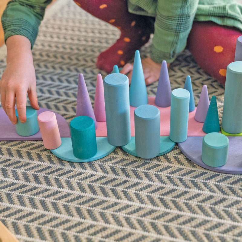 Grimm's Stacking Game Small Pastel Rollers - Wooden World