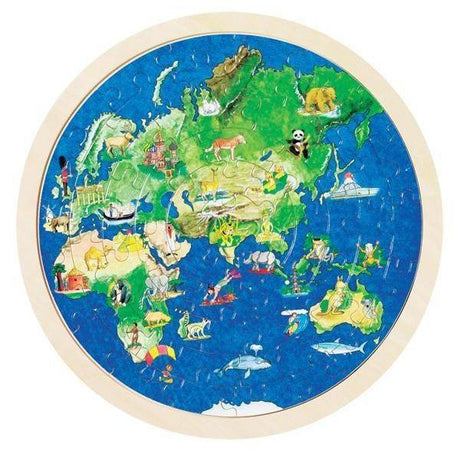Globe Puzzle (57 pc)-GOKI-Wooden World-Educational-Toys Australia