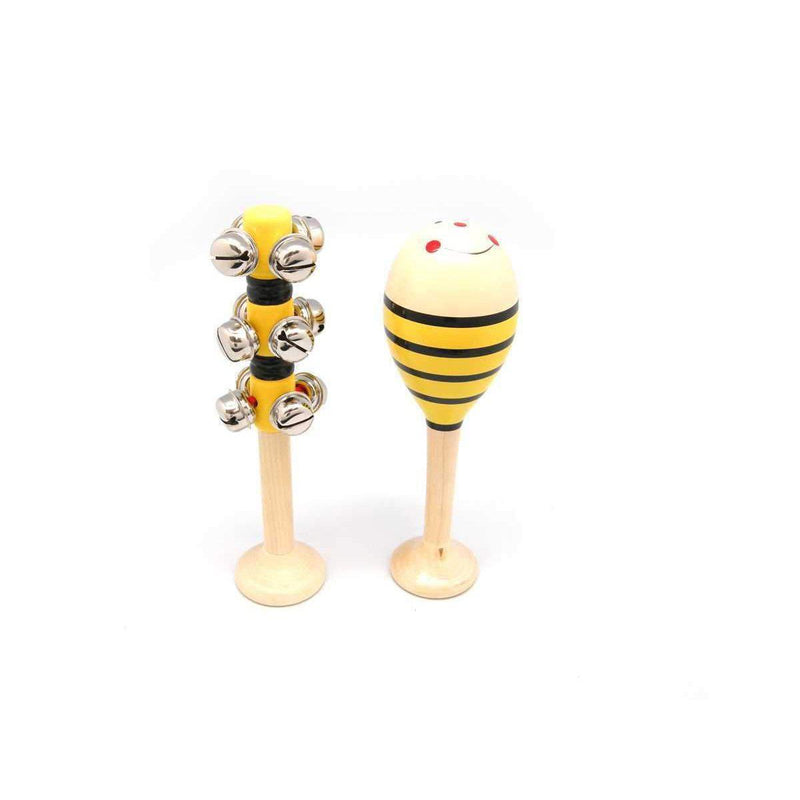 Kaper Kidz - Maraca and Bell Stick Set (Bee or Ladybug) - Wooden World
