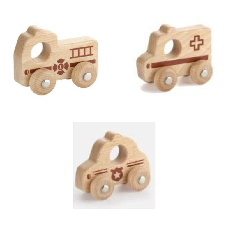 Viga Toys - Natural Wooden Emergency Vehicles