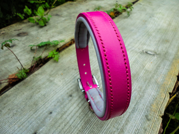 Pink and grey padded collar