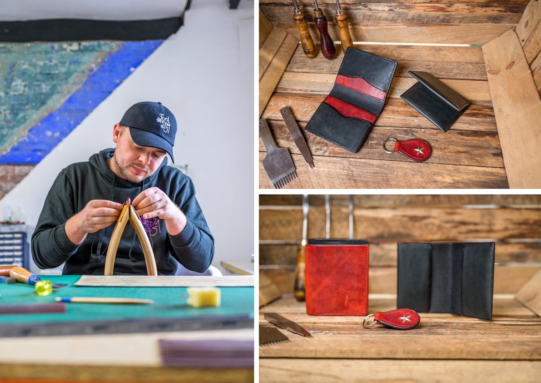 1:1 leather student in the workshop and their work after 2 days