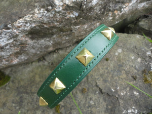 Handmade English Bridle Leather Studded Dog Collar