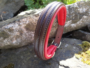 Handmade English Bridle Leather Double Raised and Padded Dog Collar