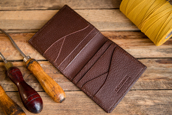 Brecon Handmade Leather Folding Credit Card Wallet, Minimallist, J.H. Leather, Made in Wales