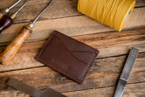 Handmade Leather Credit Card Slip Wallet, J.H. Leather