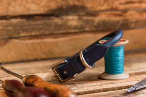 Handmade English Bridle Leather Rolled Dog Collar