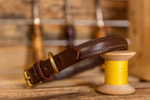 Handmade English Bridle Raised Leather Dog Collar