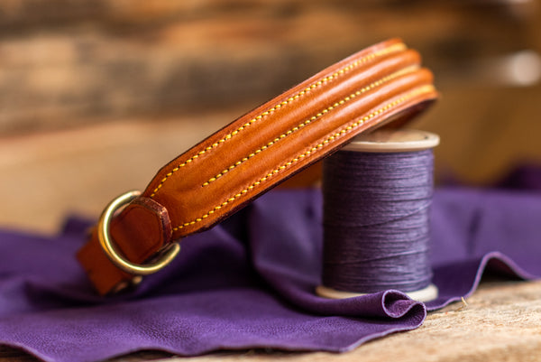 Handmade English Bridle Leather Double Raised Dog Collar