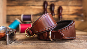 Handmade English Bridle Leather Padded Hound Collar