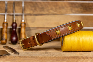 Handmade English Bridle Leather Studded and Padded Dog Collar with reflective piping