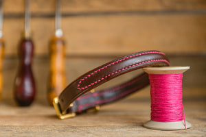 handmade raised leather dog collar