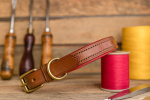 handmade english bridle leather padded dog collar