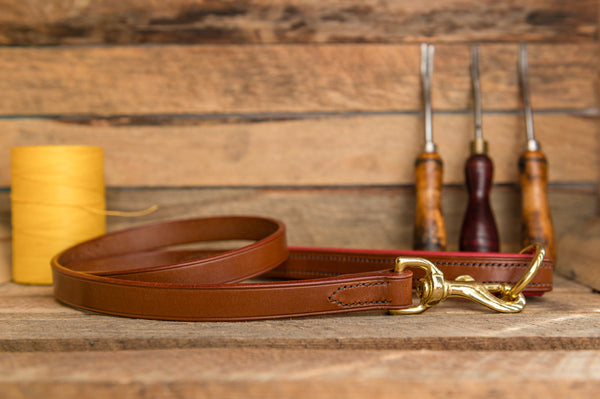 Handmade leather dog lead with padded handle