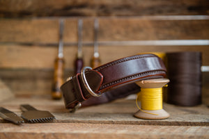 handmade square raised leather dog collar