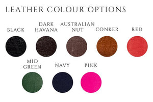 handmade leather dog collar colour options