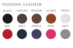 handmade leather dog lead padding colour options