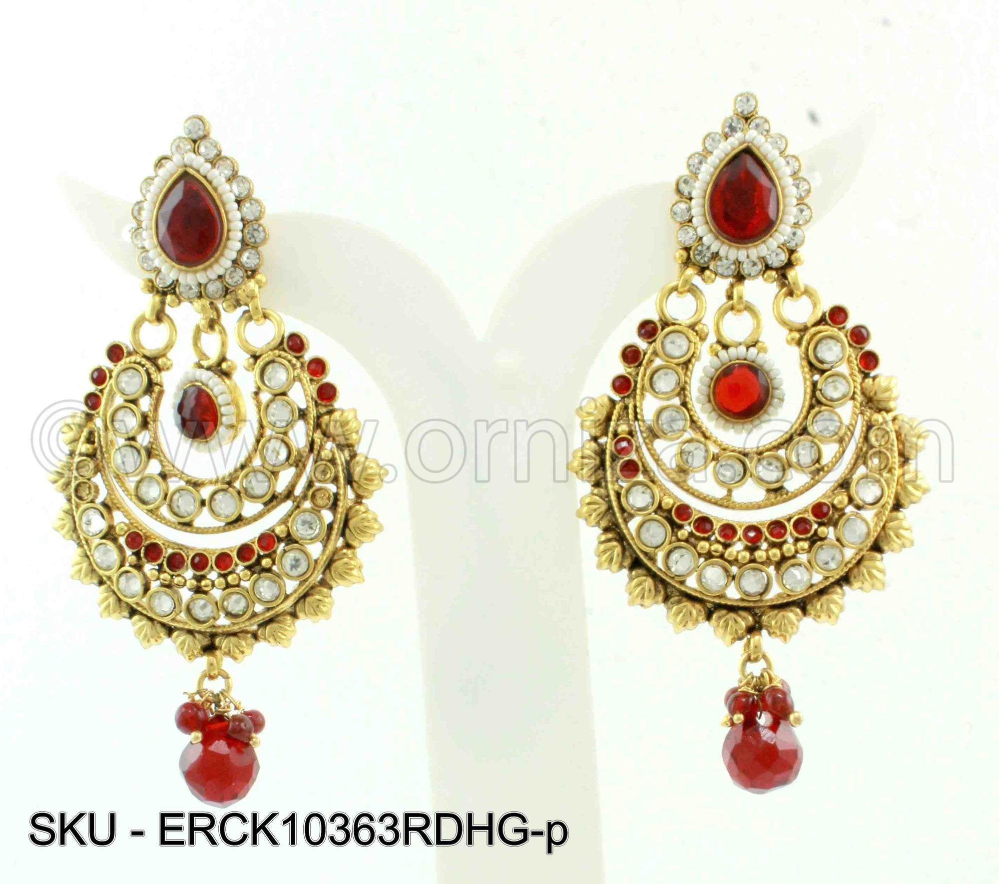 Red Polki Stones Earrings