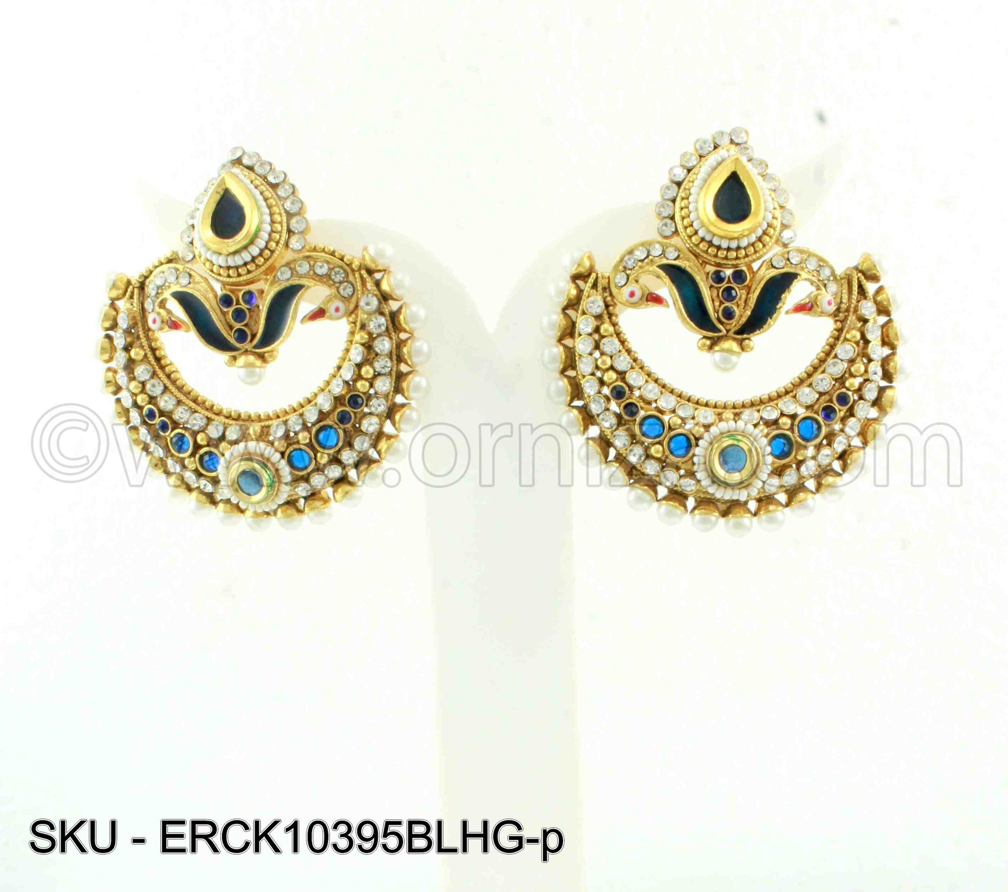 Blue Polki Stones Earrings