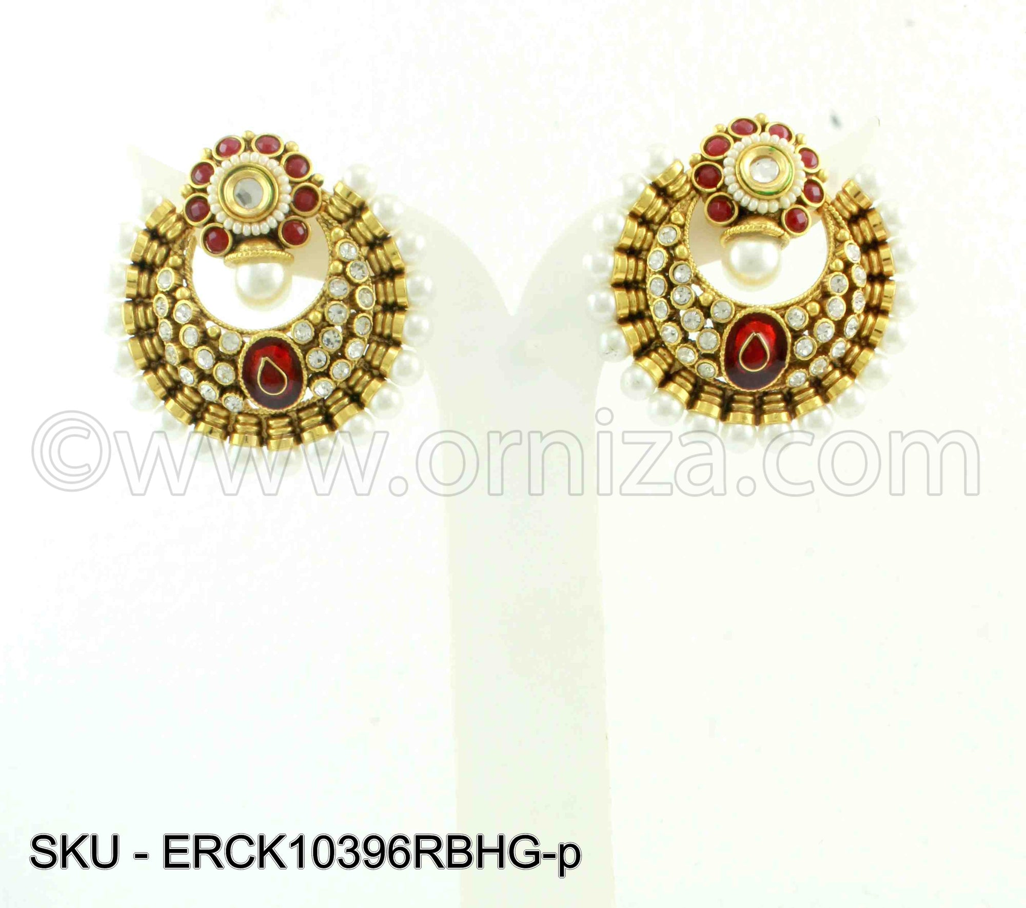 Ruby Red Polki Stones Earrings