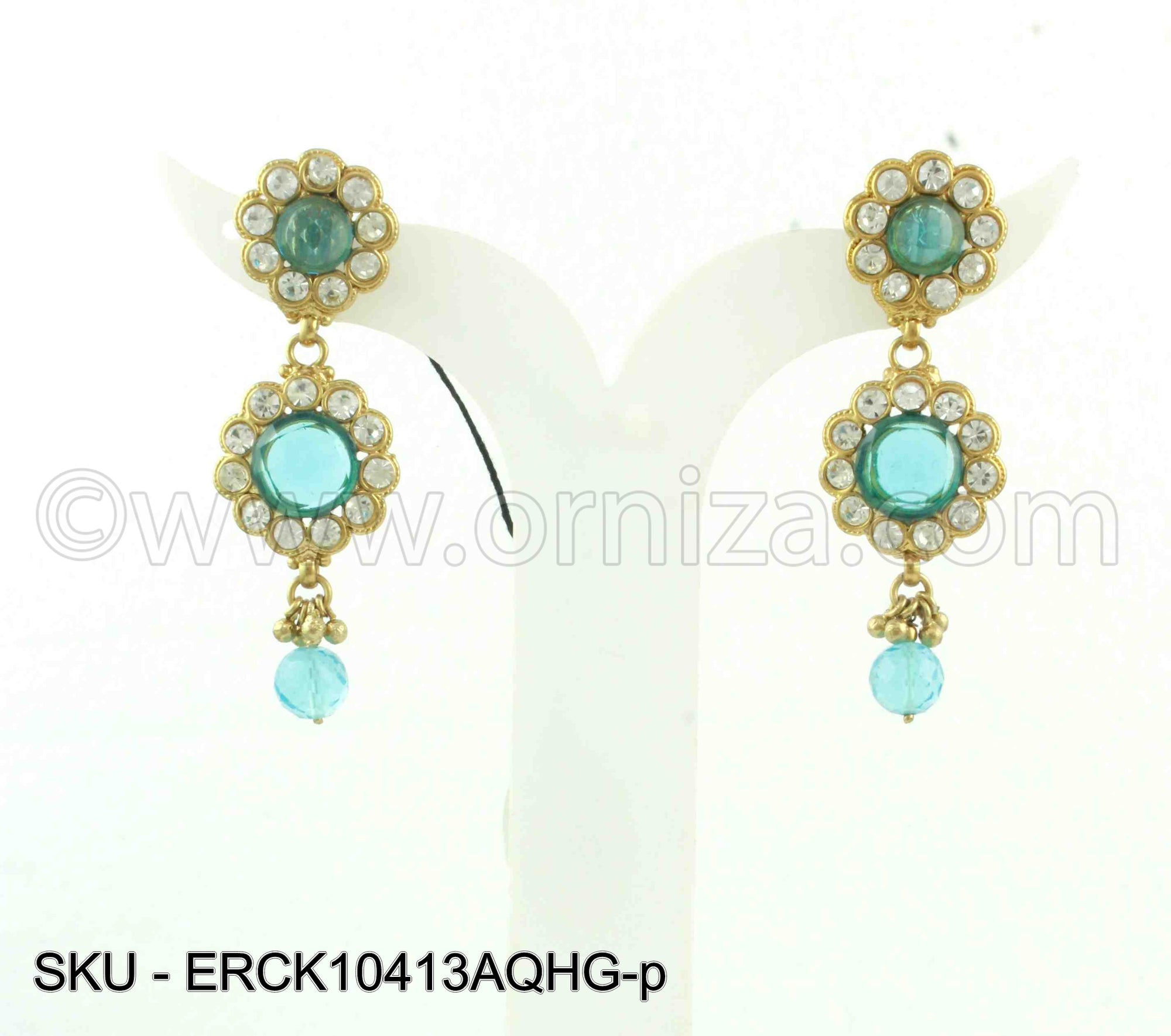 Aqua Blue Polki Stones Earrings
